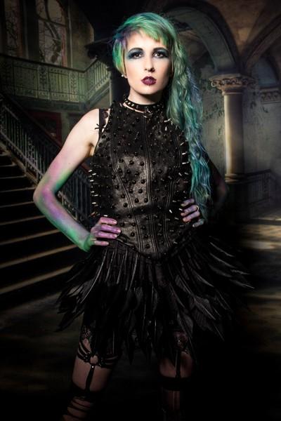 Kat modelling for fashion designer Chris Hamp