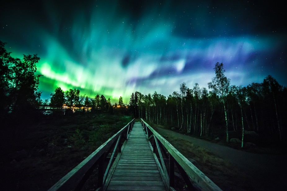 Great solar storm and peaceful nightwalk