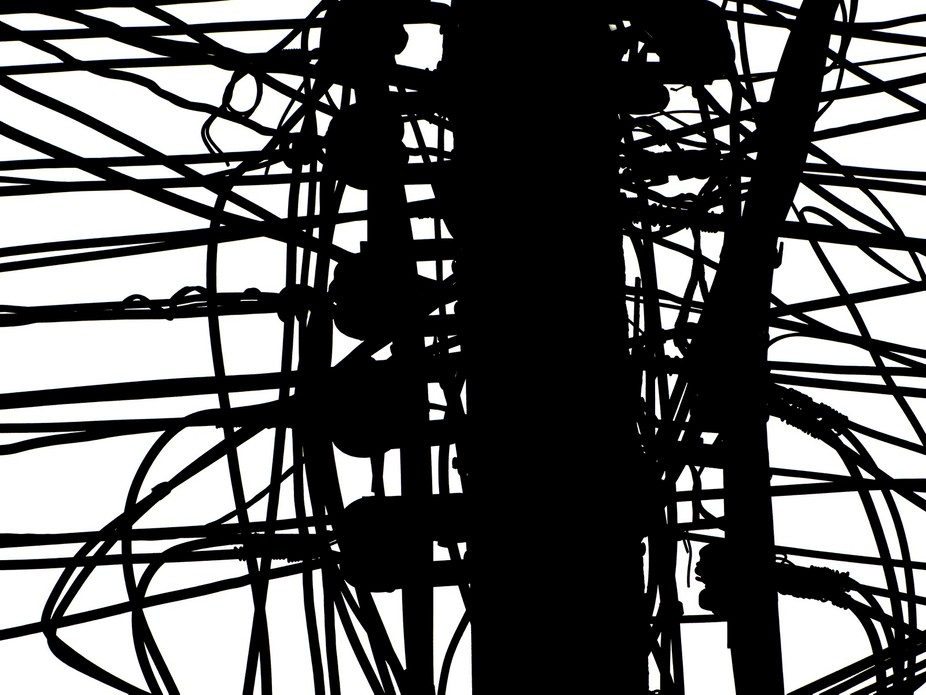 One of a series of abstract photographs taken using the chaotic cables of Asia!