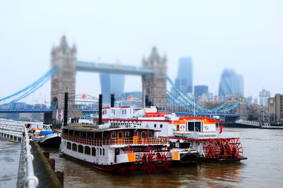 A walk along the Thames, east, looking back (west) towards Tower Bridge, with some paddle steamer...