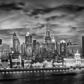 The Bund in Shanghai, as seen across the river in Pudong, is always an intense scene. I just tried to maximize that here