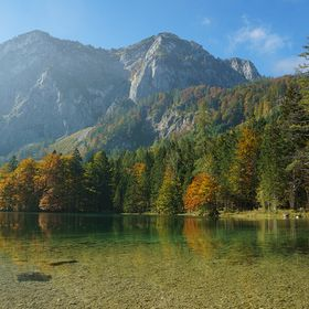 This is a really gorgeous lake in Austria, best color in fall when the leaves turn their colors