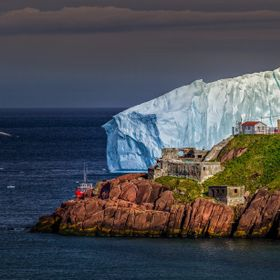 A typical,granted spectacular,view of The Narrows in St. John's,NL,Canada. Each spring,icebergs drift along the east coast of the province a...