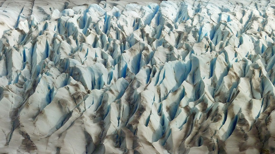 Grey Glacier viewed from above in Torres del Paine National Park, Patagonia. Chile.