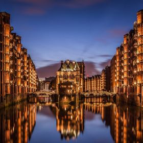 "Historic harbor district in Hamburg called ""Speicherstadt"""
