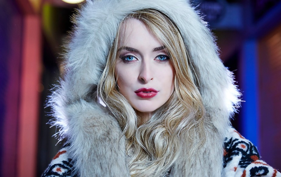 An image of the beautiful Molly Robbo, from a winter fashion shoot in the City of Norwich