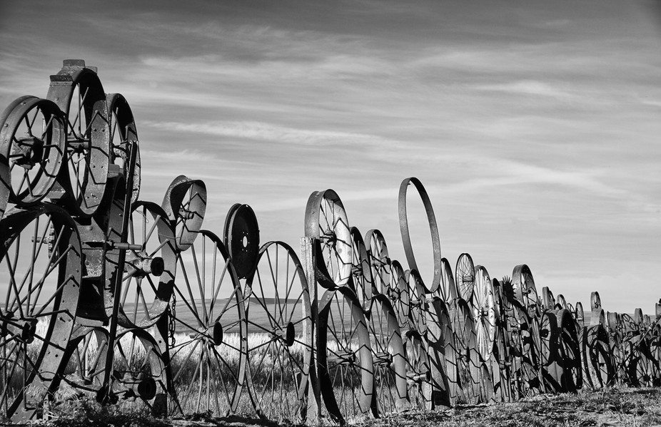 This was taken in the Palouse region of Washington State. The fence, made of rusted and/or used w...