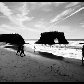 "This rock structure is called ""natural bridges"" and is located in Santa Cruz, Ca."