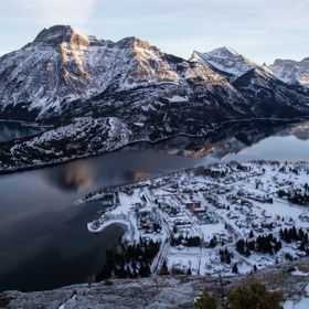 "This is Waterton National Park in Southern Alberta. We hiked up the ""Bear's Hump"" on a Winter afternoon.  I liked the way the moun..."