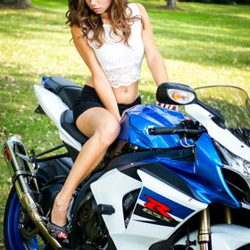 Michigan Model Abbigail Mezey poses during a motorcycle photography workshop in Saginaw, MI.