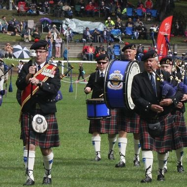 "Pipe bands in full parade during the ""Brigadoon"" Highland Gathering at Bundanoon NSW."