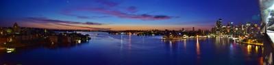 Panorama: Sunrise looking east from Sydney Harbour Bridge on December 6 2015 1