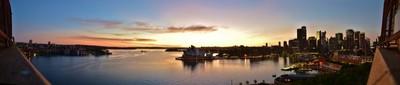 Panorama: Sunrise looking east from Sydney Harbour Bridge on December 6 2015 3