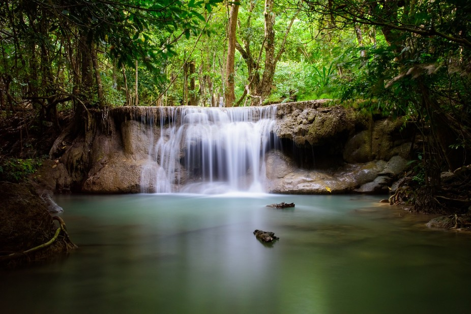 Level 3??  Huay Mae Kamin Waterfall - Kanachanaburi National Park - Thailand. Overcast day with l...