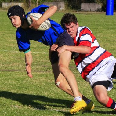 And down he goes. Nowra Christian School play Nowra Anglican College.