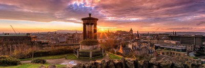 Panoramic View of Edinburgh at Sunset from Calton Hill