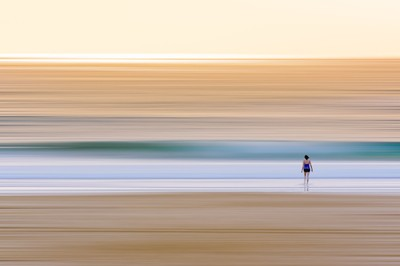 Lone Swimmer Entering Surf at Dawn_P