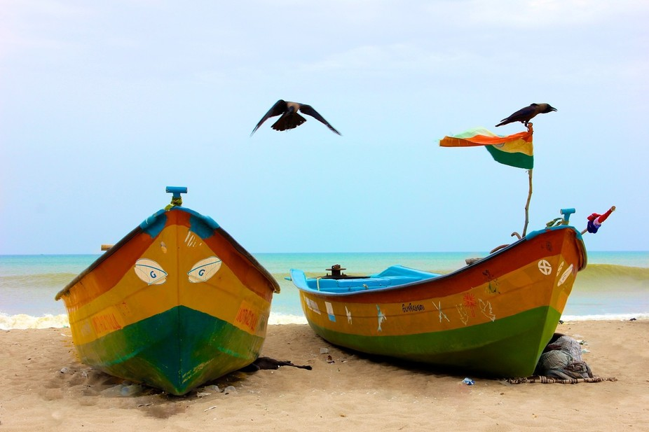 Whilst in Chennai I spent some time walking on the beach - it was a Sunday so all the fishing boa...