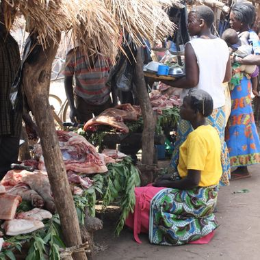 The local village butcher at the markets in northern Uganda
