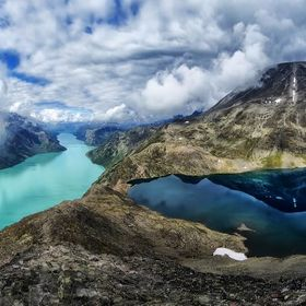 The Besseggen trail in Norway with 2 lakes in different colors