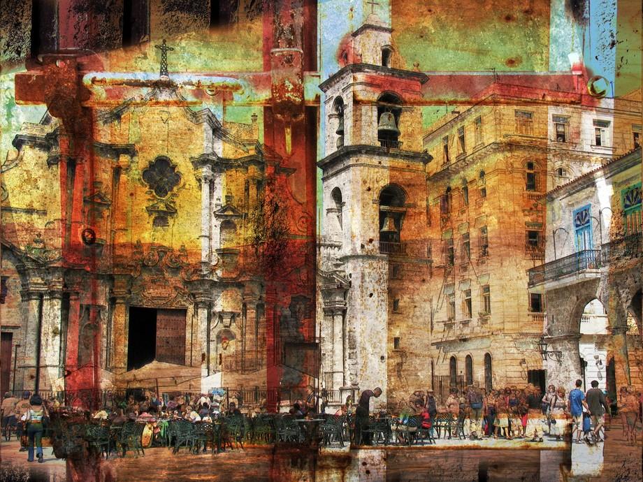 Crumbling old Havana collage