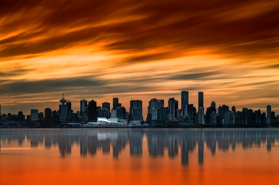 Long Exposure Photograph of Vancouver's Skyline, shot from the North Shore
