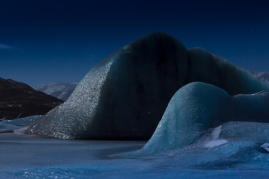 Night on the glacial lake, Iceland
