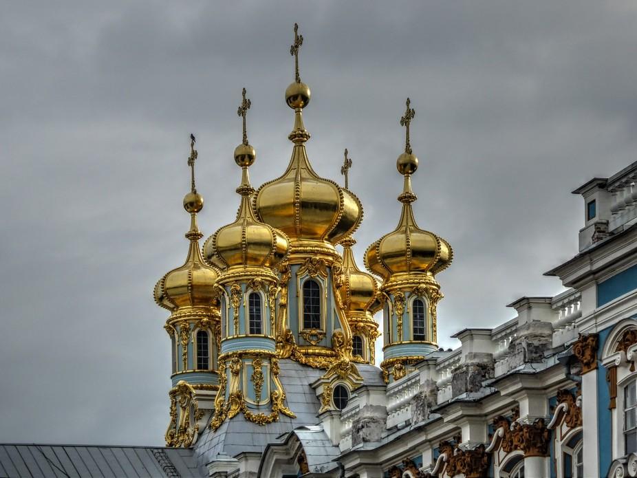 Detalle cupulas del palacio de Catalina en Rusia