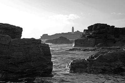 Monochrome capture of Godrevy lighthouse