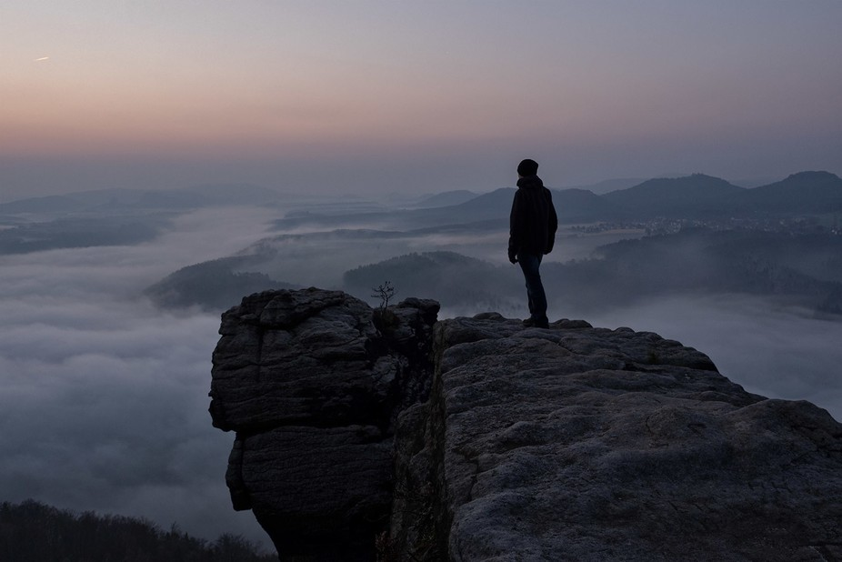 On top of the Lilienstein rock at the Saxon Switzerland area, Germany