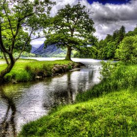 The view of the river as it leaves Lake Buttermere, The greenery was quite intense down to it being spring, and I enhanced this in the conversion.