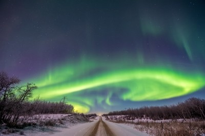 Aurora Over A Country Road