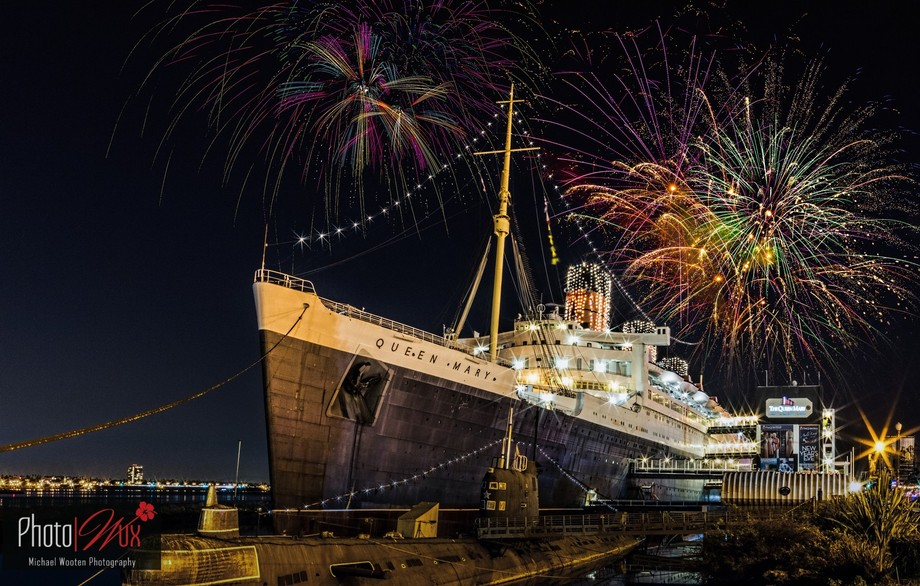 Queen Mary with Fireworks