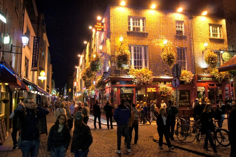 Northwest corner of the Temple Bar Dublin, IE on an August night in 2012