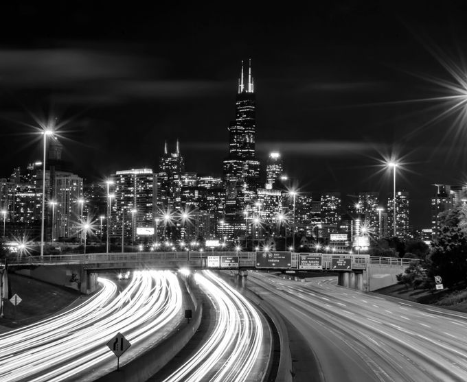 Willis Tower and Light Trails by arturogonzalez - City Life In Black And White Photo Contest