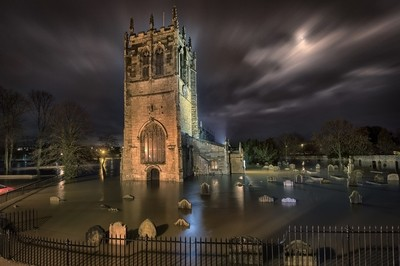 Flooding at St Mary's Church, Kirkgate, Tadcaster.