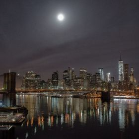 """Christmas Moon Over Lower Manhattan"" Shot Christmas Morning.  4928 x 3264 JPG,Tif Available. (C)2015 Oyamaleahcim-Michael A. Mayo, all..."