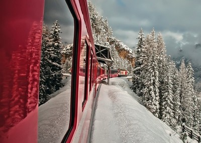Traveling on the red train