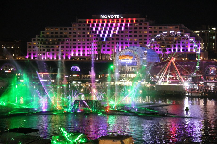 Vivid 2015. Darling Harbour, Sydney. Crazy Laser/ fireworks show with streamers of colour, excite...