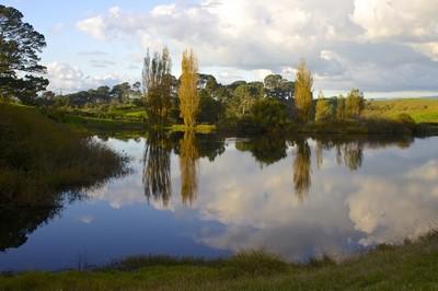 Hobbiton lake in New Zealand