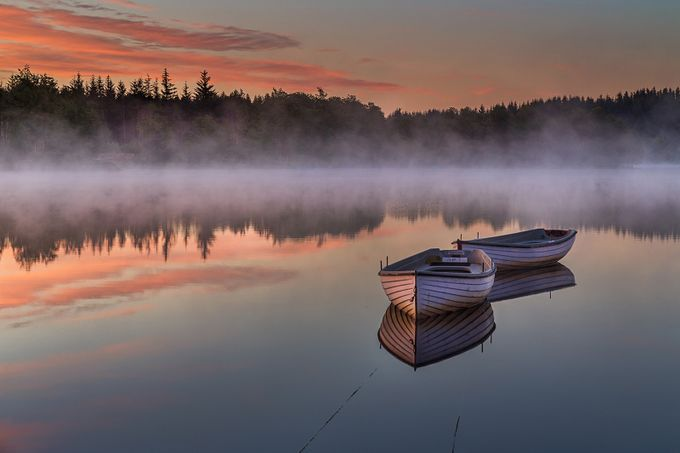 Loch Rusky Dawn, Scotland by shahbazmajeed - Mist And Drizzle Photo Contest