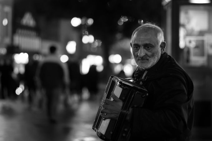 The Accordion Player by StuartByles - Night And Bokeh Photo Contest