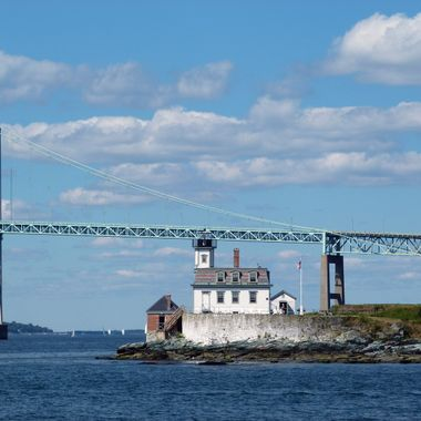 Lighthouse on Rose Island in Narragansett Bay, Rhode Island.