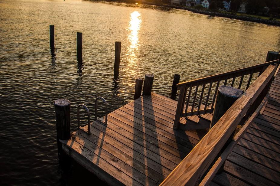 swim platform at sunset