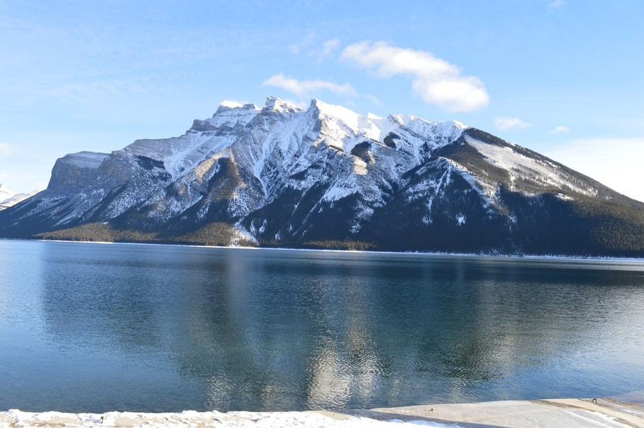 Lake Minnewanka, partially frozen