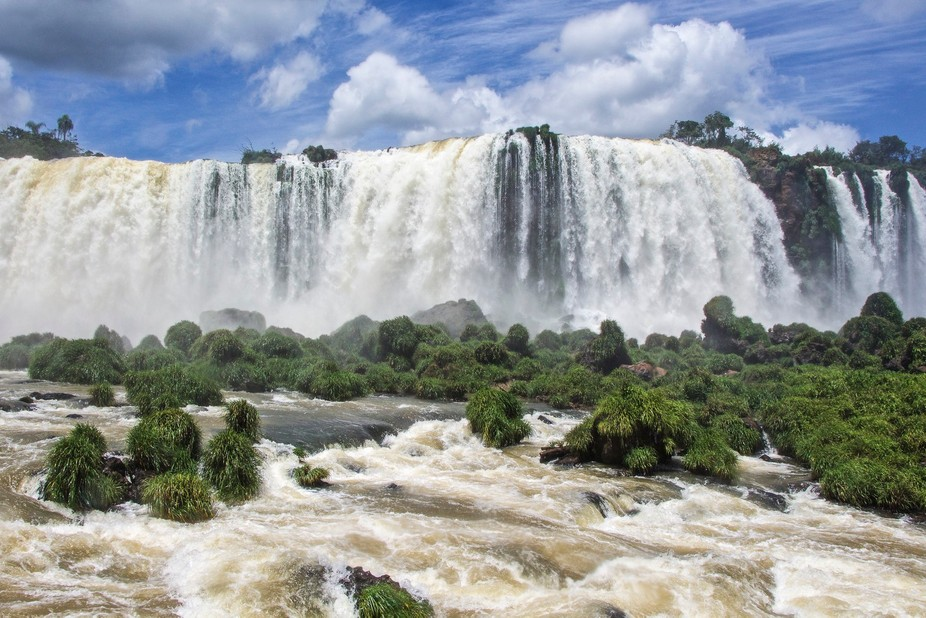 Gigantic Iguazzu falls span both Argentina and Brazil- this image is but a small part of the whol...