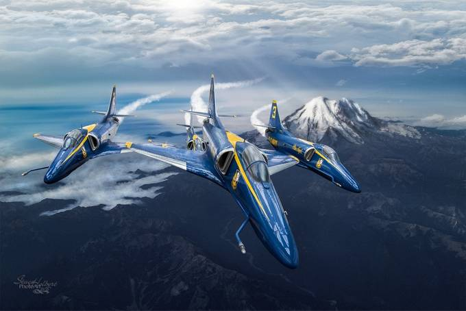 Blue Angels over Mt Rainier by sjholbert - Aircraft Photo Contest