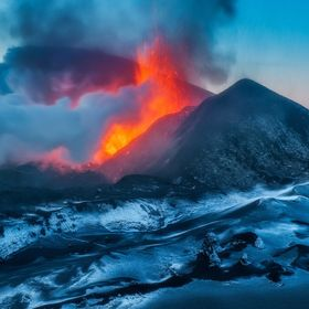 Eruption of Flat Tolbachik volcano in Kamchatka, Russia. To get this picture I had to camp in 1 kilometer near erupting volcano and get ac close ...