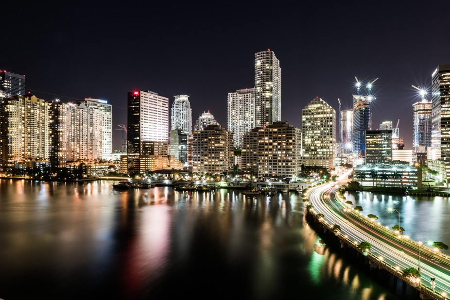 This is a cityscape taken of Miami's financial district.