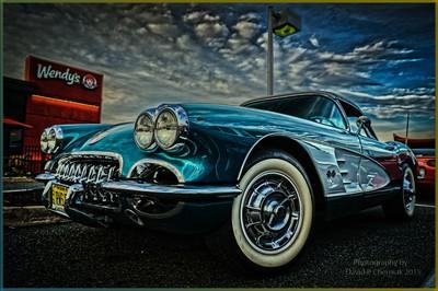 1959 Corvette Left Front Wendys Car Show HDR 8-6-2015